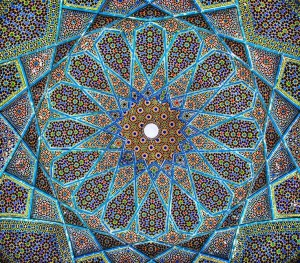 Ceiling ofPavilion over the Tomb of Hafez in Shiraz, Iran (source: Wikimedia)
