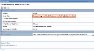 A DataContext with base class changed to use the DotNetNuke adapter.