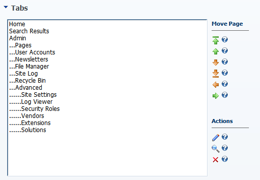 DotNetNuke Admin Page Organization