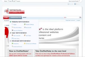 A screenshot of the prototype DotNetnuke DNNMenu Templated-Menu Navigation Provider
