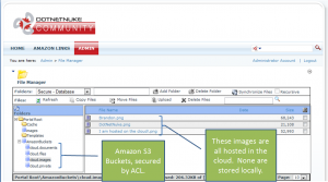 A screenshot demonstrating Amazon S3 cloud-based integration on the DotNetNuke platform