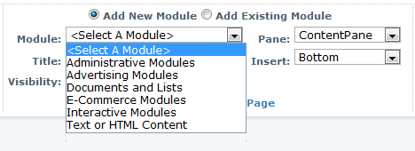 A compact, minimized DotNetNuke control panel module list with groups by function.
