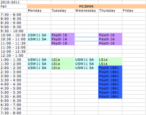 My class schedule for senior fall