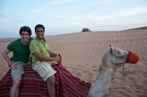 Taking a camel ride after the safari.