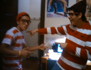 "My roommate Adam and I as ""Where's Waldo?"""