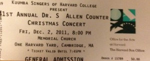 My ticket from the Kuumba Christmas Concert