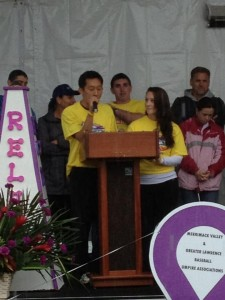 Madison and I speaking at my community's Relay for Life!