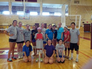 Scott and Ann with Team Black Panthers at The Volleyball Camp at Harvard