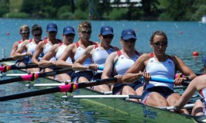 Caryn Davies '05 (third from right) won a Gold medal competing for Team USA Women's Eight