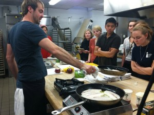 Barton Seaver teaching sustainable seafood cooking techniques at FLP cooking class, spring 2012