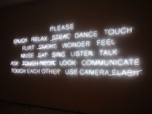 Lighted signage before entering the MFA's Contemporary Art exhibit!