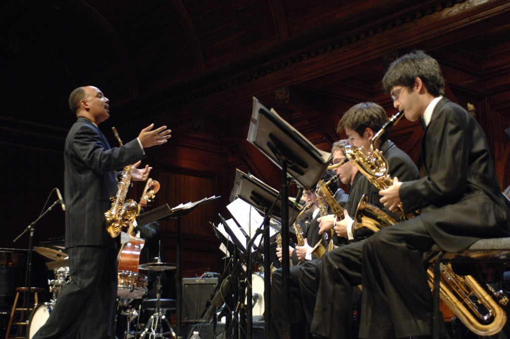 Members of the Harvard Jazz Band perform a concert at Sanders Theatre, April 2011.