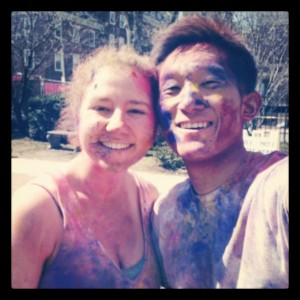 Me and my blockmate, Lina, at Holi!
