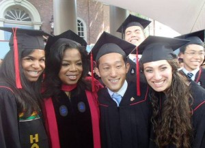 Scott Yim, Nina Yancy, Julie Barzilay with Oprah at Harvard Commencement