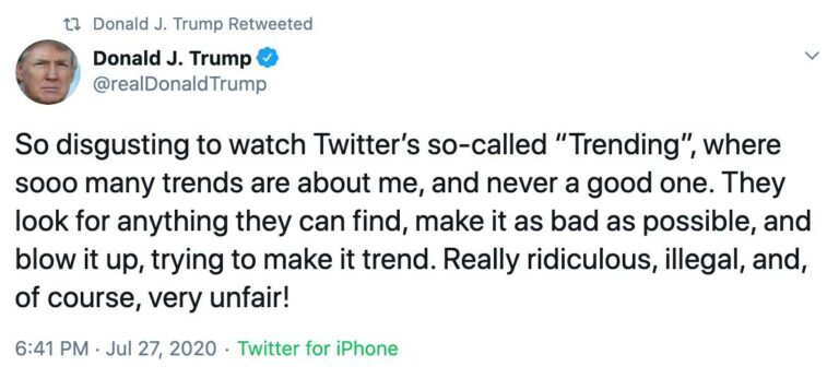 President Trump regularly tweets implying that Twitter's trending topics are biased against him.
