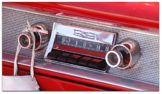 AM radio in an old chevy convertible