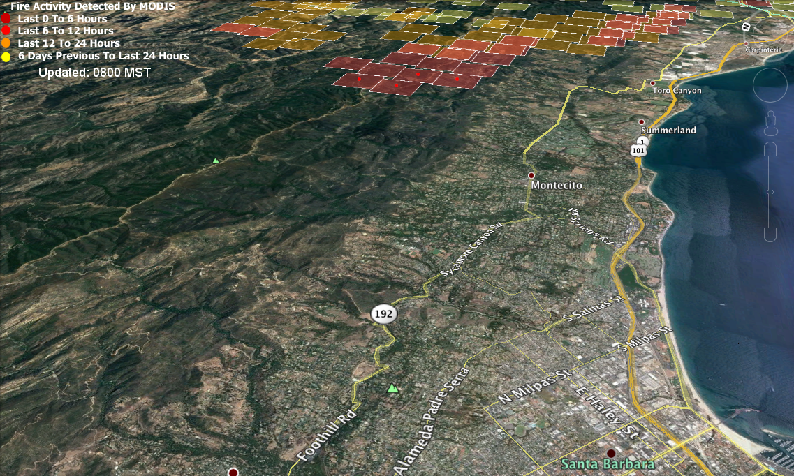 second a screenshot of the ncwg national wildfire coordinating group map of the area 718am pacific time