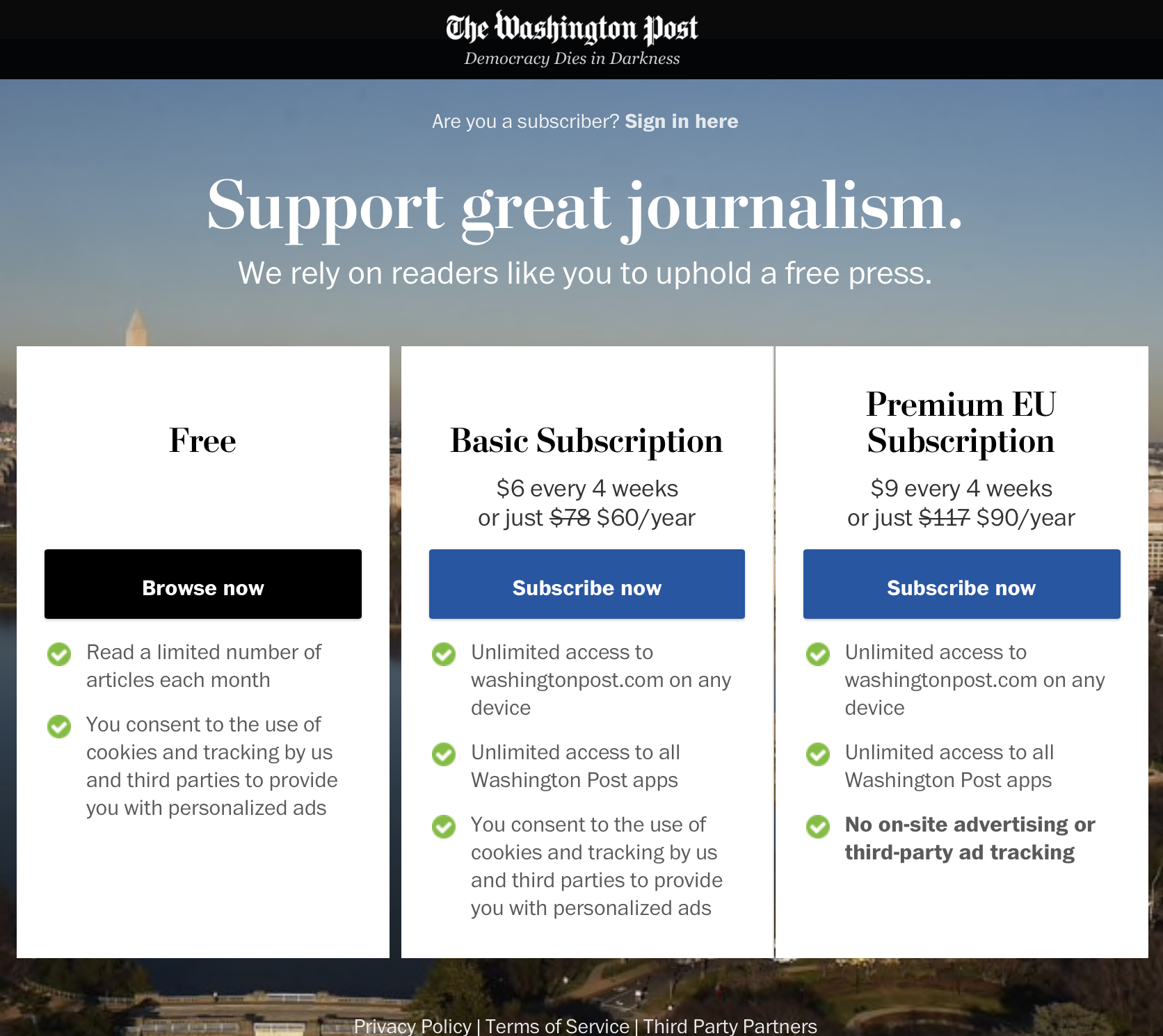 Washington Post greeting for Europeans
