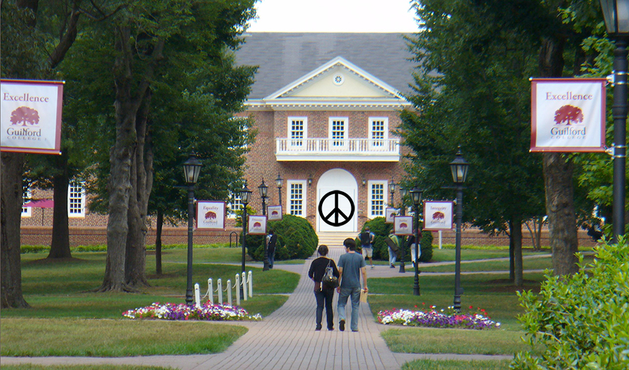 Guilford College with a peace sign