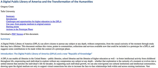 A Digital Public Library of America and the Transformation of the Humanities