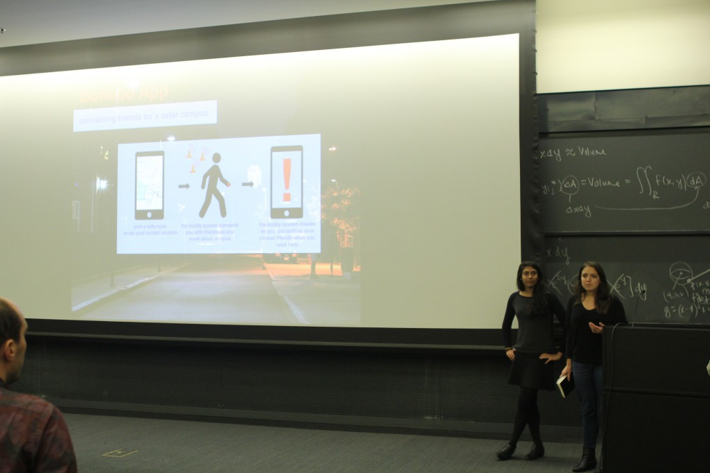 Members of the Sexual Assault team present a schematic for their app, Bonobo.