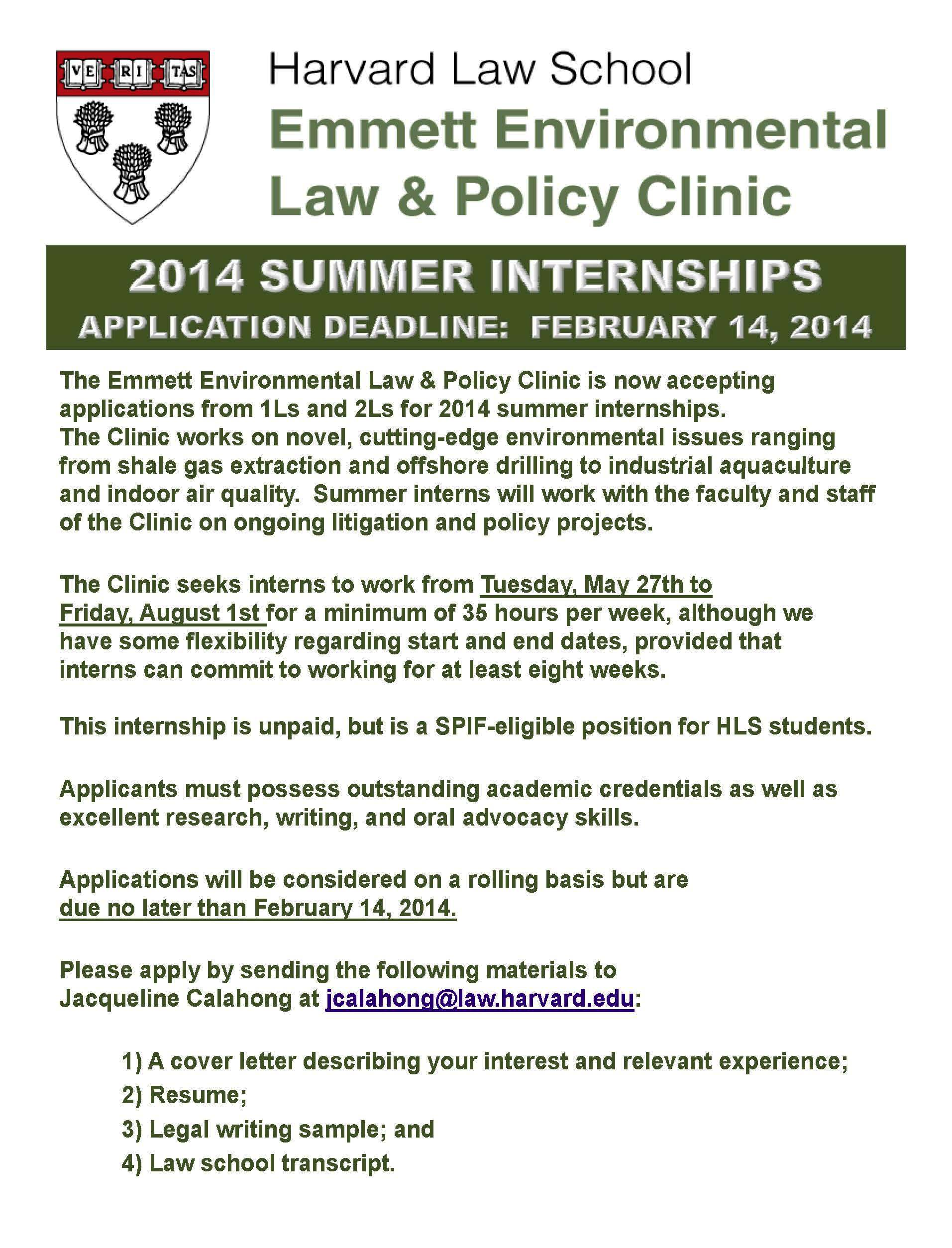 Delightful 2014 Summer Internships At The Environmental Law U0026 Policy Clinic