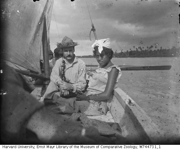 William McMichael Woodworth with woman on deck, Samoa. 1897, Photograph from glass-plate negative