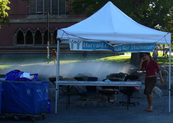 Habitat for Humanity book sale tent in front of Tanner Fountain