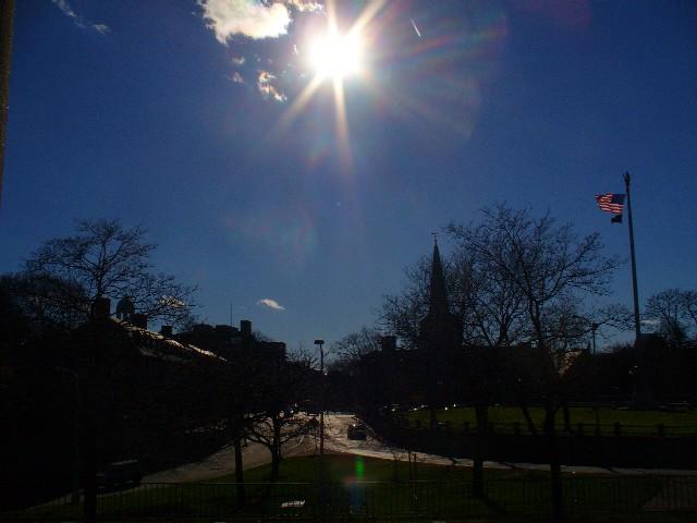Sunshine over Harvard Square.
