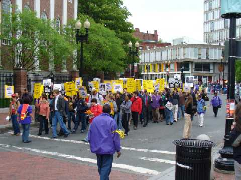 Rally in Harvard Square supporting SEIU contract with Allied Barton.