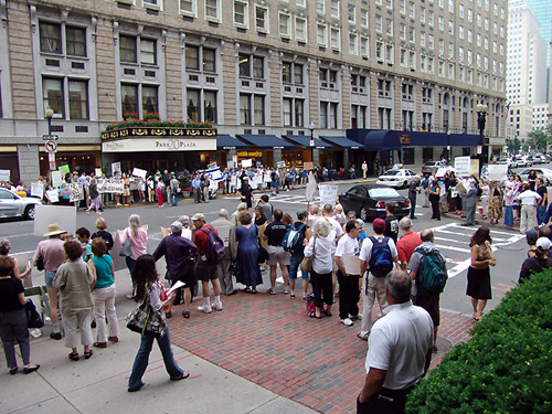Demonstration by Boston Coalition for Palestinian Rights at the Israeli Consulate at the Park Plaza Hotel Boston.