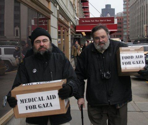Bringing food and medical supplies to the Israeli Consulate at the Park Plaza Hotel in Boston