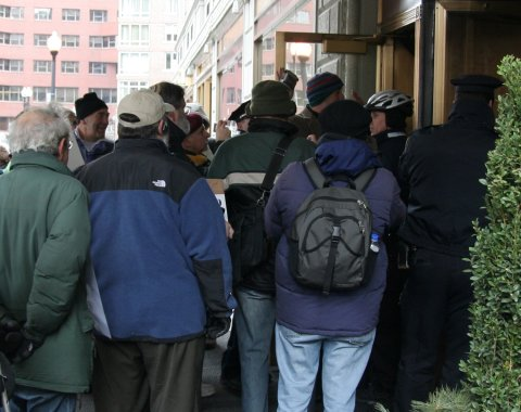 Police turning away the Jews for Human Rights in Gaza at the Israeli Consulate, Park Plaza Hotel, Boston