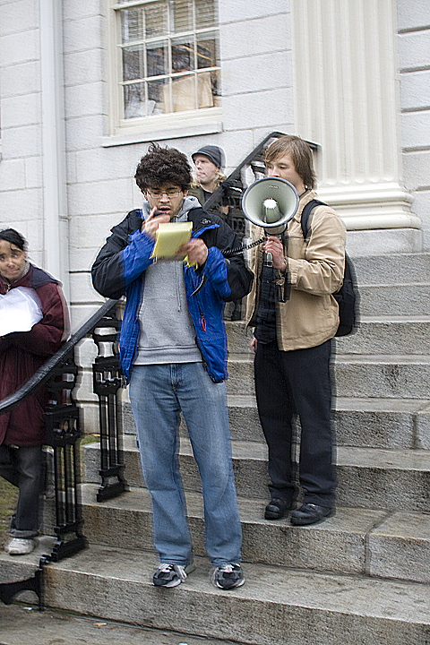 Adaner and friends on the steps of University Hall.