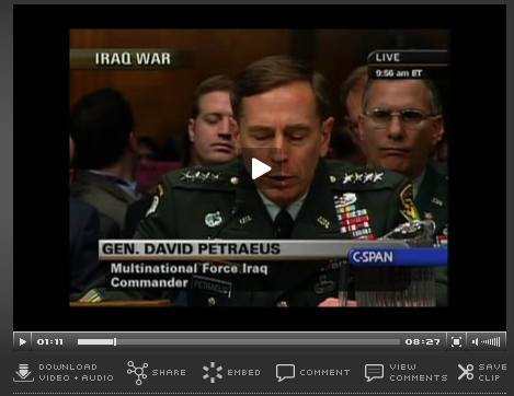 General Petreus testifying before congress. The surge worked, but not well enough to withdraw.