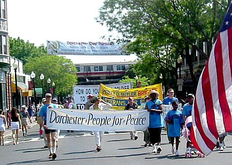 Dorchester People for Peace marching in the Dorchester Day Parade June 1, 2005.
