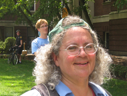 Joan Frankel in front of Pierce Hall where she works.