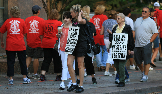 Sisters of the Brotherhood of Electrical Workers on the line. 8/11/11