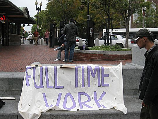 Sign carried by Security Guard members fo SEIU 615 employed at Harvard