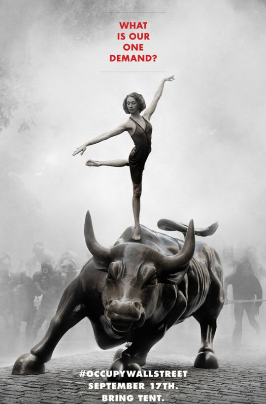Ballerina on the Wall Street Bull: Occupy Wall Street.
