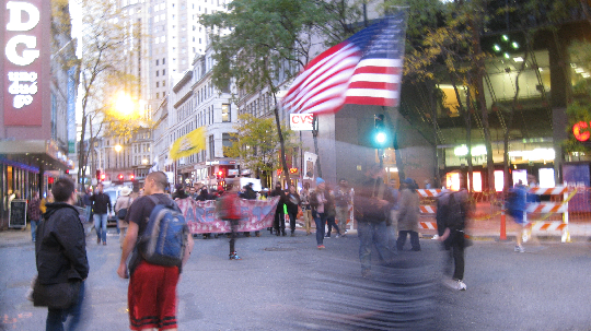 Occupy Boston marches through the financial district in solidarity with Occupy Oakland