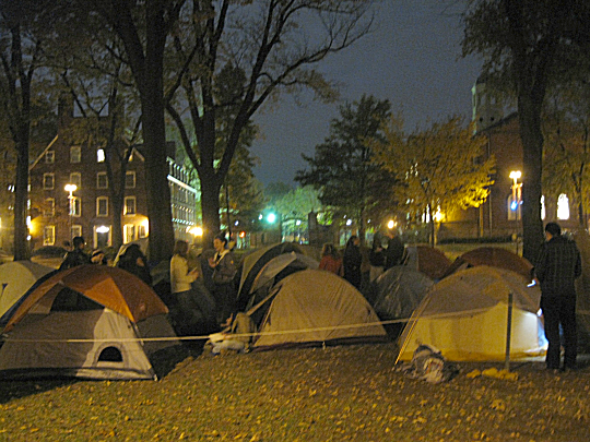 Tent City of Occupy Harvard in front of the John Harvard statue in the Old Yard, November 10, 2011