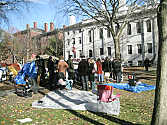 The population of Occupy Harvard was swelled by the arrival of Romance Language faculty, family, and friends.