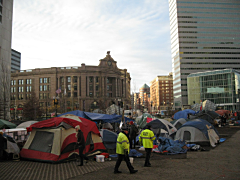 View of Occupy Boston from the General Assembly area looking toward Sout6h Station on the morning after Menino's planned eviction.