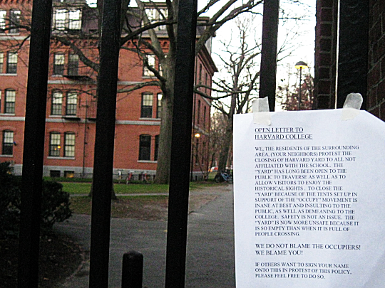 Open letter from Harvard Neigbors decrying the lockdown of the Yard to isolate Occupy Harvard