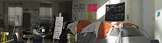 Tent city on Level 1 of the Campus Center at UMASS Boston 1/28/11