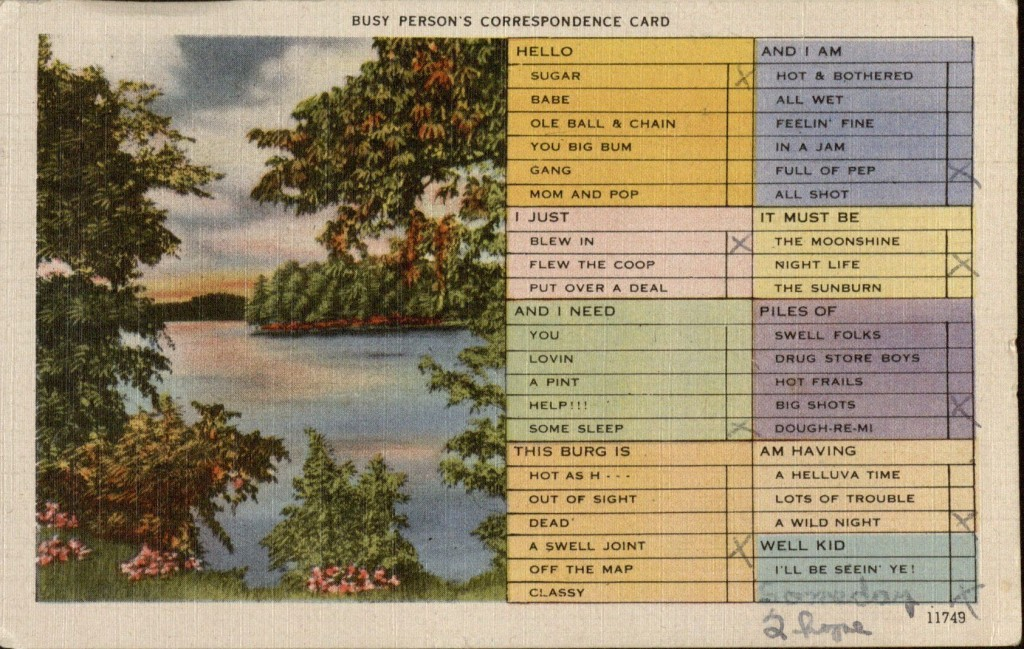 A Busy Person's Correspondence Card