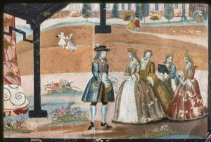 Europeans in 18th century fashion, walking among flower beds.