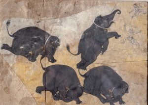 Four views of a cheerful gray baby elephant against a yellow background; three kneeling and one standing on hind legs, arranged in a circle. The elephant wears gold bells dangling off a thin white collar. Two small figures, possibly trainers, lunge in opposite directions in top right corner.
