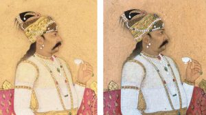 Side-by-side photos of painting from a private collection, illustrating the superior quality of the images from the Welch collection. On left, a bearded man in a jeweled turban and earrings is shown in profile from the waist up, seated formally on a red divan and holding a white teacup. Image has a soft focus and yellow hues. Same photo on right (Welch collection) has dramatically higher resolution.
